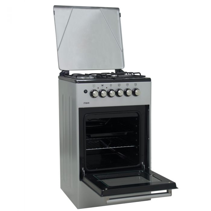 Mika 50X50CM All Gas, Gas Oven Standing Cooker- Silver