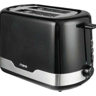 Mika MTS2204 TOASTER 2 slice 700W  Self Centering Pair with Kettle MKT1204-Full Black with SS trim