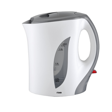 Mika MKT1001 Corded Kettle (Electric) 1.7L Plastic Body-White & Grey.