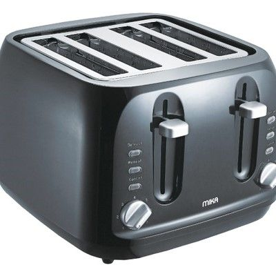 Mika MTS4201 TOASTER 4 slice 1400W Self Centering-Black & SS